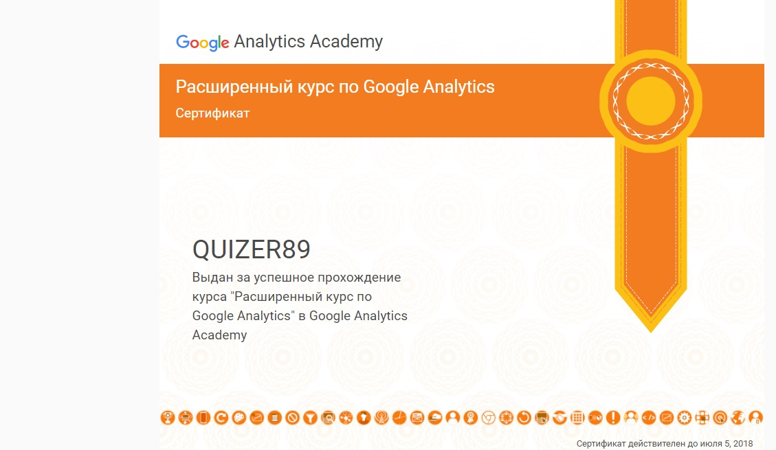 certificate 2 Google Analytics Ruslan Kharchenko